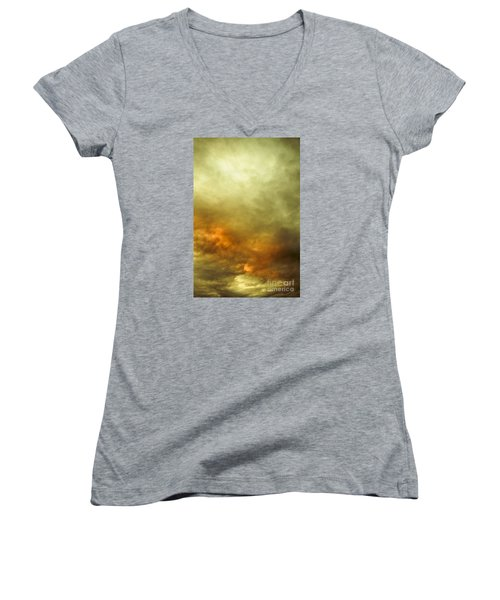Women's V-Neck T-Shirt featuring the photograph High Pressure Skyline by Jorgo Photography - Wall Art Gallery
