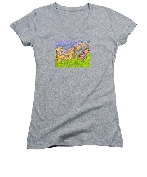 High Sierra Fall Colors Women's V-Neck T-Shirt (Junior Cut) by Marilyn Diaz