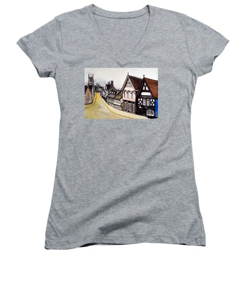 High Street Of Stamford In England Women's V-Neck T-Shirt (Junior Cut) by Dora Hathazi Mendes