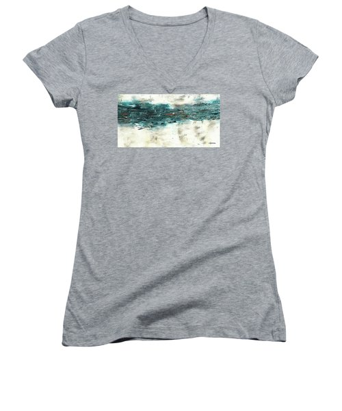 Women's V-Neck T-Shirt (Junior Cut) featuring the painting High Tide by Carmen Guedez