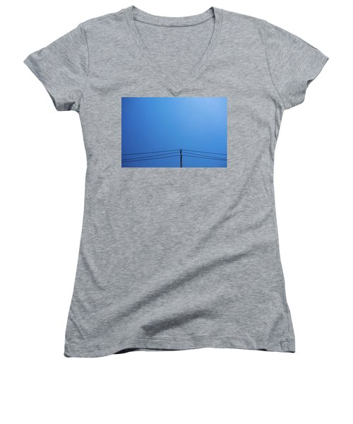 High Voltage Power, Electric Pose Women's V-Neck T-Shirt (Junior Cut) by Jingjits Photography