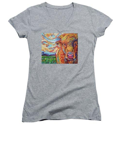Women's V-Neck T-Shirt (Junior Cut) featuring the painting Highland Breeze by Jenn Cunningham