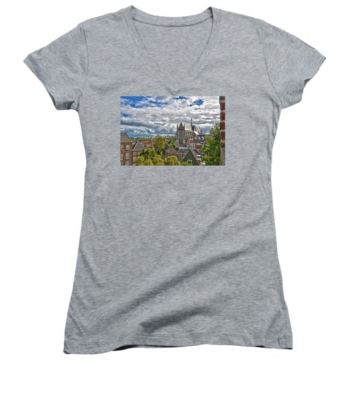 Highland Church Seen From Leiden Castle Women's V-Neck