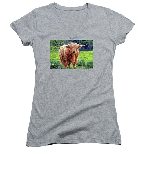 Women's V-Neck featuring the painting Highland Cow by Harry Warrick