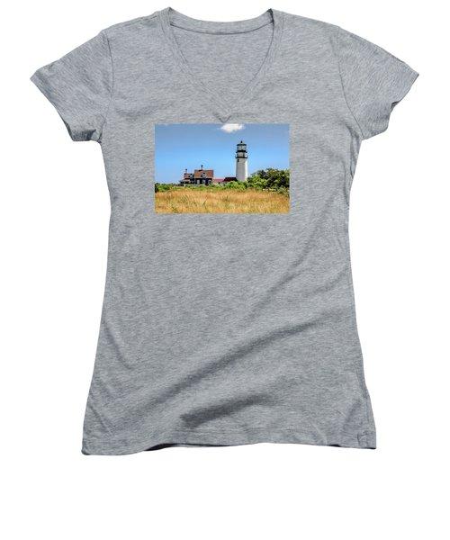 Highland Light - Cape Cod Women's V-Neck T-Shirt (Junior Cut) by Peter Ciro