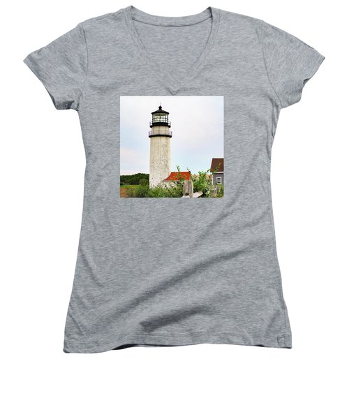 Women's V-Neck T-Shirt (Junior Cut) featuring the photograph Highland Lighthouse II by Marianne Campolongo