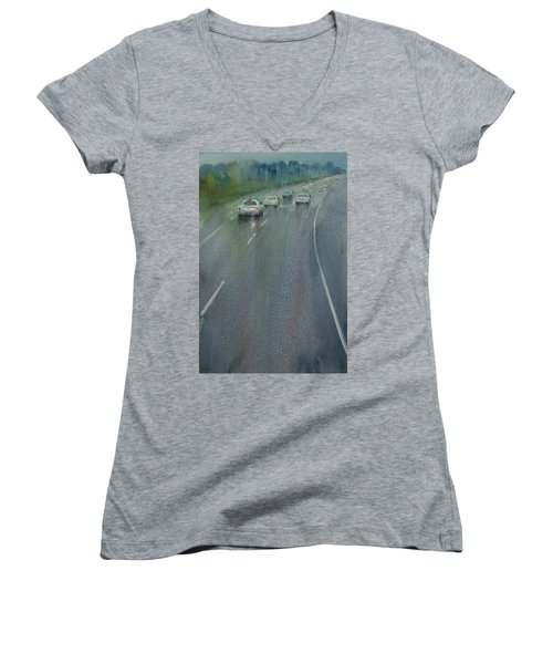 Women's V-Neck T-Shirt (Junior Cut) featuring the painting Highway On The Rain02 by Helal Uddin