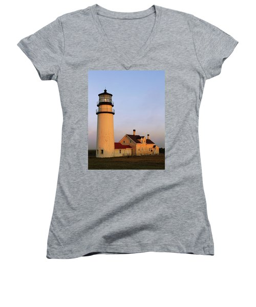 Higland Lighthouse Cape Cod Women's V-Neck T-Shirt (Junior Cut) by Roupen  Baker