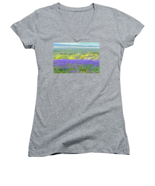 Hike To The Top Of Temblor Range Women's V-Neck T-Shirt (Junior Cut) by Marc Crumpler