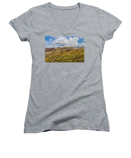 Hiking At 13,000 Feet Women's V-Neck (Athletic Fit)