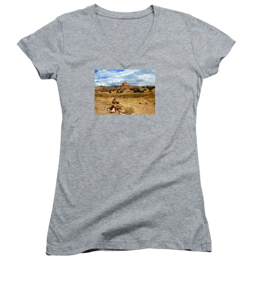 Women's V-Neck T-Shirt (Junior Cut) featuring the photograph Hiking Ghost Ranch New Mexico by Kurt Van Wagner