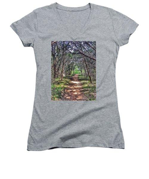 Hiking Meridian State Park  Women's V-Neck T-Shirt (Junior Cut) by Debra Martz
