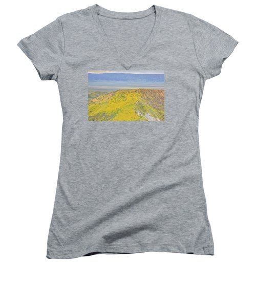 Women's V-Neck T-Shirt (Junior Cut) featuring the photograph Hiking The Temblor by Marc Crumpler