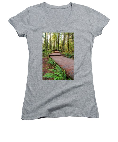 Hiking Trail Wood Walkway In Lynn Canyon Park Women's V-Neck (Athletic Fit)