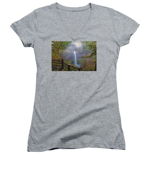 Hiking Trails At Silver Falls State Park Women's V-Neck (Athletic Fit)