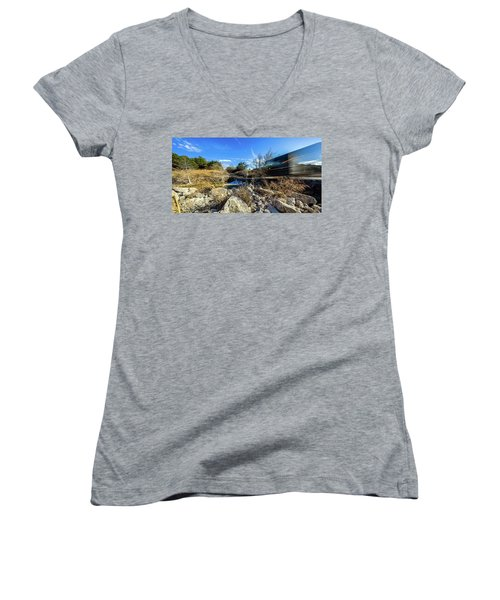 Hill Country Back Road Long Exposure #2 Women's V-Neck T-Shirt (Junior Cut) by Micah Goff