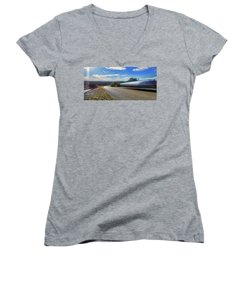 Hill Country Back Road Long Exposure Women's V-Neck T-Shirt (Junior Cut) by Micah Goff