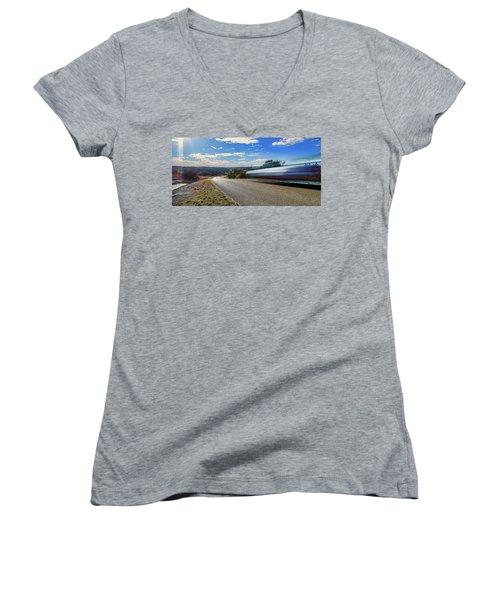 Hill Country Back Road Long Exposure Women's V-Neck T-Shirt (Junior Cut)