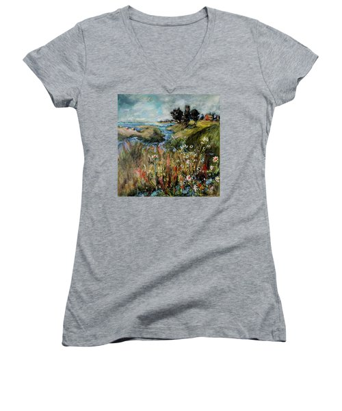 Hill Top Wildflowers Women's V-Neck T-Shirt