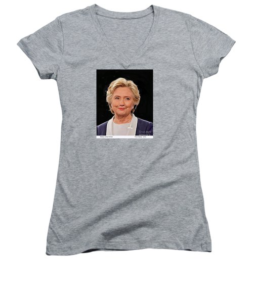 Hillary At The Debate Women's V-Neck T-Shirt (Junior Cut) by Fred Jinkins