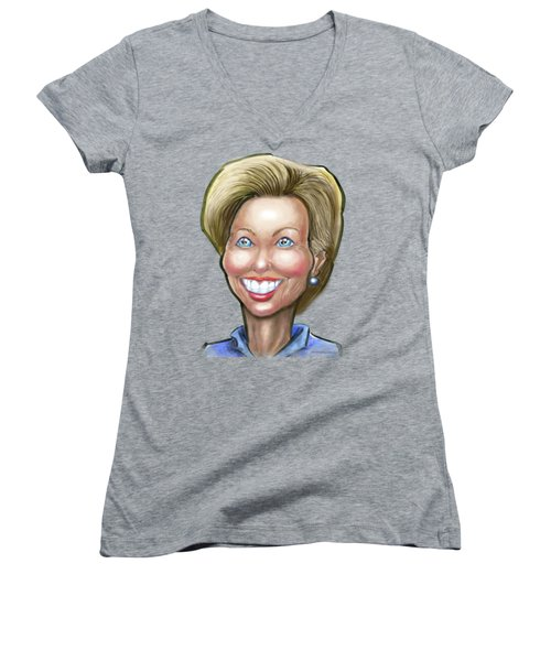 Hillary Clinton Caricature Women's V-Neck T-Shirt (Junior Cut)