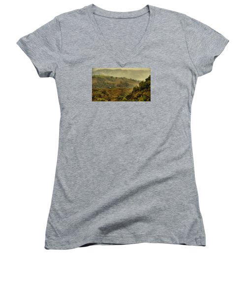 Hills Above Anderson Valley Women's V-Neck T-Shirt (Junior Cut) by Josephine Buschman