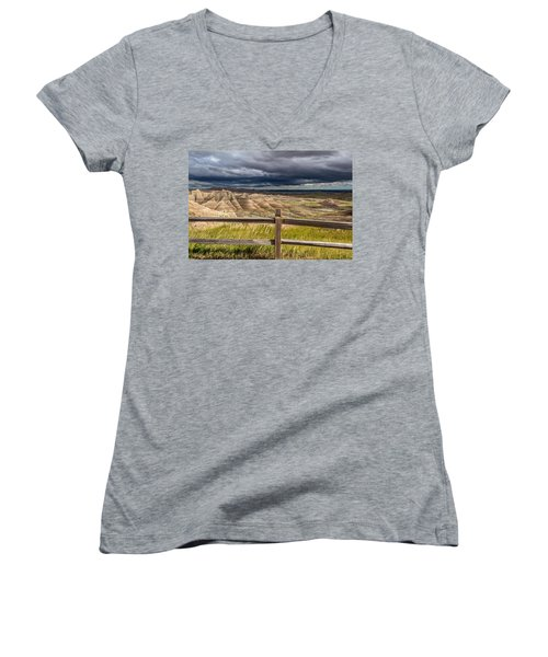 Hills Behind The Fence Women's V-Neck (Athletic Fit)