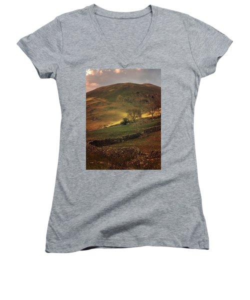 Hills Of Scotland At The Sunset Women's V-Neck T-Shirt (Junior Cut) by Jaroslaw Blaminsky