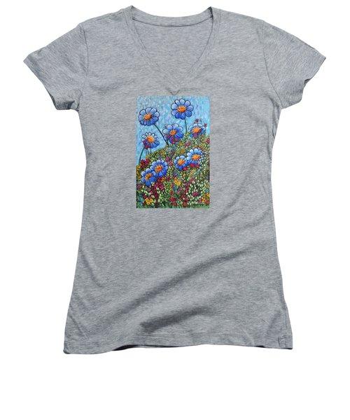 Hillside Blues Women's V-Neck T-Shirt (Junior Cut) by Holly Carmichael