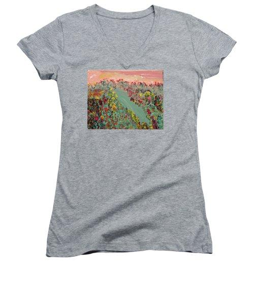 Hillside Flowers Women's V-Neck T-Shirt (Junior Cut) by Karen Nicholson