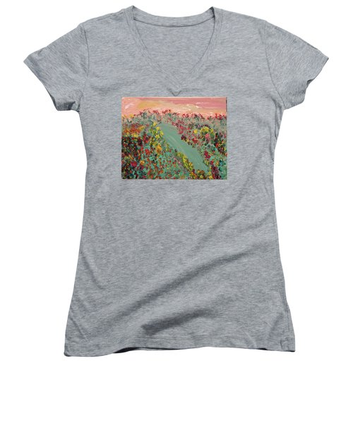 Hillside Flowers Women's V-Neck T-Shirt