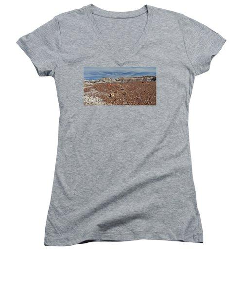 Women's V-Neck T-Shirt (Junior Cut) featuring the photograph Hillside Hues by Gary Kaylor