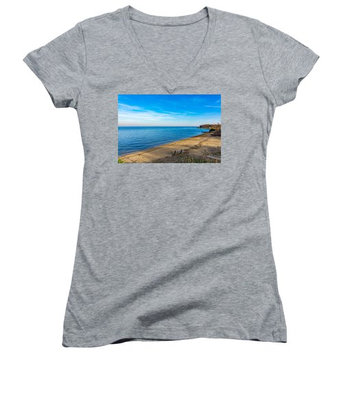 Women's V-Neck T-Shirt featuring the photograph Hillsmere Beach On The Chesapeake by Charles Kraus