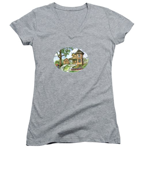 Hilltop Home Women's V-Neck T-Shirt (Junior Cut) by Shelley Wallace Ylst