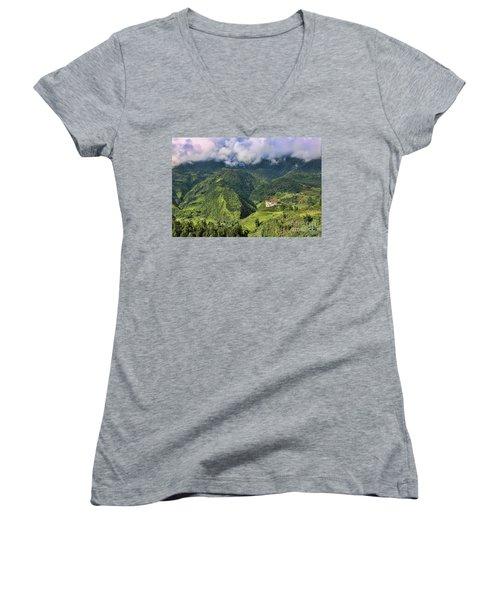 Hilltop Sapa Women's V-Neck T-Shirt (Junior Cut) by Chuck Kuhn
