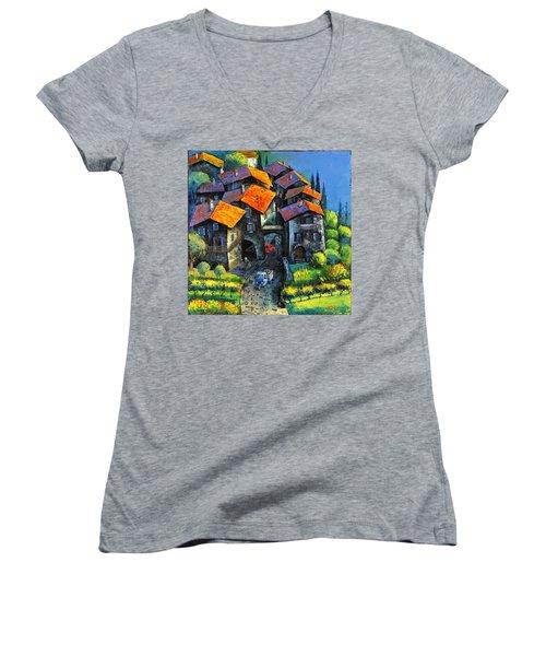 Hilltop Willage Women's V-Neck T-Shirt