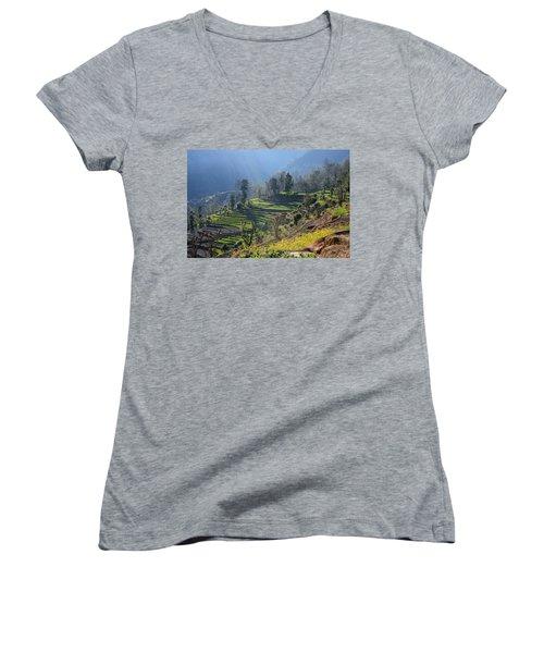 Himalayan Stepped Fields - Nepal Women's V-Neck T-Shirt (Junior Cut) by Aidan Moran