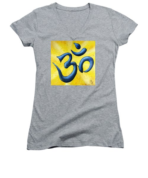 Women's V-Neck T-Shirt featuring the painting Hindu Om Symbol Art by Bob Baker