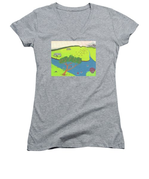 Women's V-Neck featuring the drawing Hippo Awareness by John Wiegand
