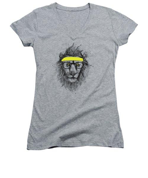Hipster Lion Women's V-Neck (Athletic Fit)