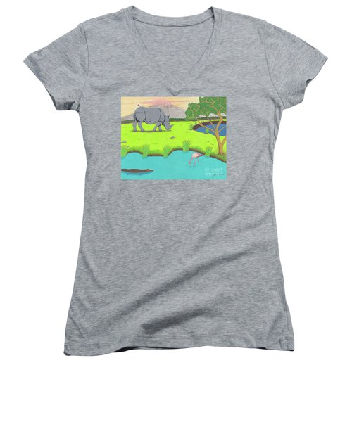 Women's V-Neck featuring the drawing His Backward Glance by John Wiegand