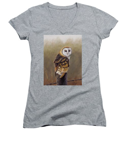 His Majesty Sits Women's V-Neck T-Shirt (Junior Cut) by Dan Wagner