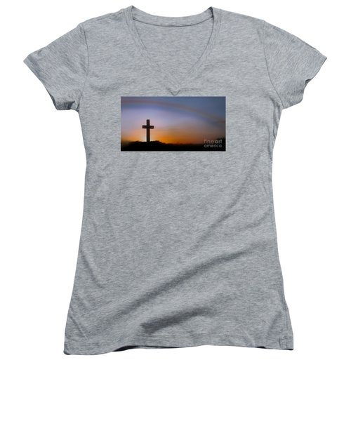 Women's V-Neck T-Shirt (Junior Cut) featuring the photograph His Promise by Benanne Stiens