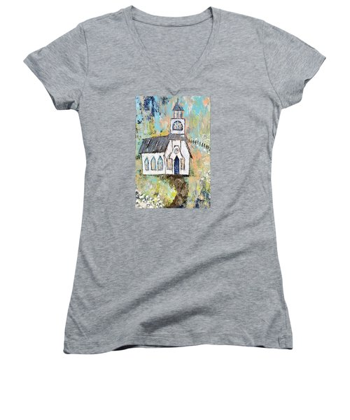 His Purpose Will Prevail Women's V-Neck T-Shirt (Junior Cut) by Kirsten Reed