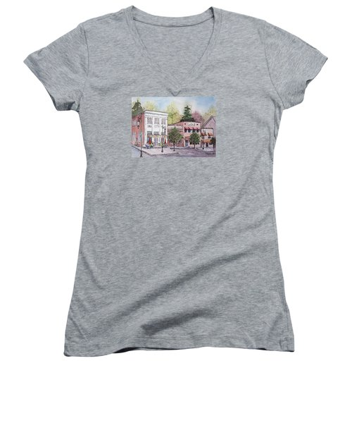 Women's V-Neck T-Shirt (Junior Cut) featuring the painting Historic Blue Ridge, Georgia by Gretchen Allen