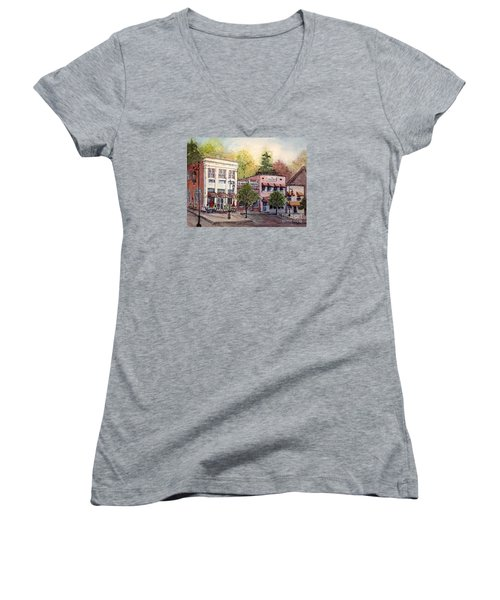 Women's V-Neck T-Shirt (Junior Cut) featuring the painting Historic Blue Ridge Shops by Gretchen Allen