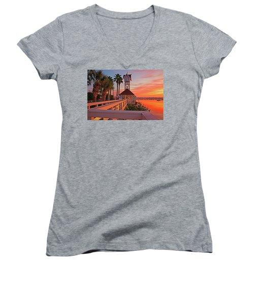 Historic Bridge Street Pier Sunrise Women's V-Neck T-Shirt