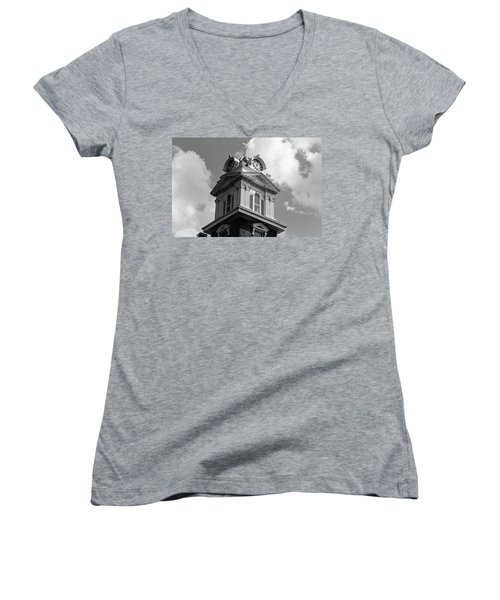 Historic Courthouse Steeple In Bw Women's V-Neck