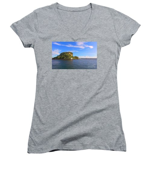 Women's V-Neck T-Shirt (Junior Cut) featuring the photograph Historic Lighthouse On Chijin Island by Yali Shi