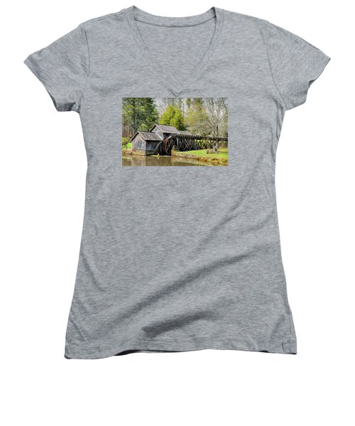 Historic Mabry Mill In Early Spring Women's V-Neck